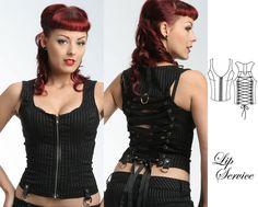 """LIP SERVICE Gangsta Pranksta """"Carmen"""" top #53-161 - black/white size L, black/Lurex size XL"""