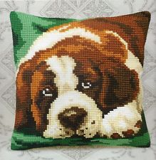 SAINT BERNARD DOG LARGE HOLE TAPESTRY CANVAS CROSS STITCH CUSHION FRONT KIT NEW