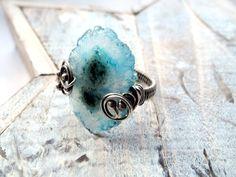 Solar Quartz Ring - Silver Wire Wrapped Ring - Blue Raw Gemstone - Asymetrical Silver Ring - Big Woodland Romantic. $74.00, via Etsy.