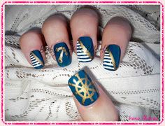 Baby Pink's World - Nail Art. Uñas marineras / Navy nails.