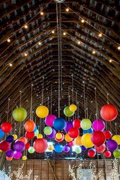 Balloon ceiling in a barn!