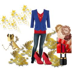 """""""Captain Marvel/Carol Danvers inspired outfit"""" by pamelaelie on Polyvore"""