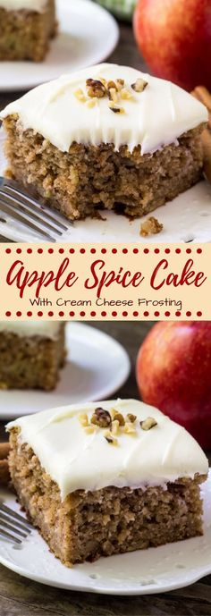 This apple spice cake with cream cheese frosting is packed with flavor, filled with cinnamon, and has a delicious caramel undertone thanks to brown sugar. Then topped with fluffy cream cheese frosting - it's the perfect cake for fall! 13 Desserts, Apple Desserts, Delicious Desserts, Dessert Recipes, Frosting Recipes, Spice Cake Recipes, Apple Cakes, Baking Desserts, Fall Cake Recipes