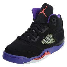 f947732dc501a Jordan Retro 5 GP Girls Big Kids Running Shoes Black Ember Glow Fierce  Purple 440893-017 Review