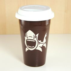 Check out this brown shark travel mug from Bread and Badger!