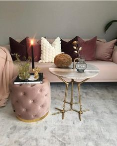 Undoubtedly Elegant Pink Living Room Ideas That Will Stun You 19 - grhaku Living Room Bedroom, Living Room Decor, Bedroom Decor, Living Rooms, Blush Sofa, Bohemian Style Bedrooms, My New Room, Cheap Home Decor, Living Room Designs