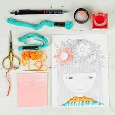 pencil sketch of a girl with flowers on her hair and embroidered striped shirt, orange, light pink and turquoise  - by PinkNounou