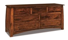 "Amish Boulder Creek 73"" Seven Drawer Dresser The Boulder Creek is big and full of solid wood storage. Tuck away clothing and accessories neatly and beautifully with this wood dresser. Pick the wood you want to build yours in today. #dresser #bedroomstorage"