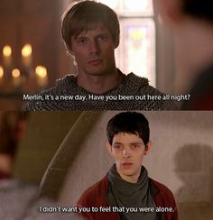 Arthur and Merlin. Loved this scene. best friendship in the world! I seriously think Merlin would be the best friend to have. Merlin Memes, Merlin Funny, Merlin Quotes, Merlin Merlin, Watch Merlin, Sherlock Quotes, Sherlock John, Sherlock Holmes, Merlin