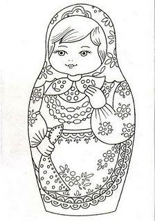 Uma matrioshka , matriochka ou matrioska (em russo - матрёшка ou матрешка ) é uma boneca, um brinquedo tradicional da Rússia, c. Matryoshka Doll, Kokeshi Dolls, Coloring Book Pages, Printable Coloring Pages, Cross Stitch Embroidery, Embroidery Patterns, Embroidery Art, Paper Dolls, Zentangle