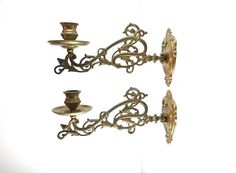 Pair Antique Solid Brass Victorian Piano Candelabra / by RVHills