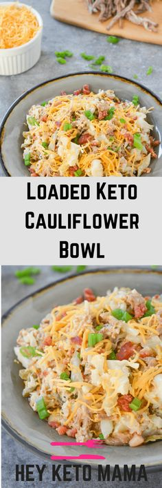 This loaded keto cauliflower bowl is a rich and flavorful, filling meal that will remind you of a baked potato! via @heyketomama Ketogenic Recipes, Low Carb Recipes, Vegetarian Recipes, Healthy Recipes, Keto Foods, Keto Snacks, Vegetarian Appetizers, Diabetic Snacks, Primal Recipes