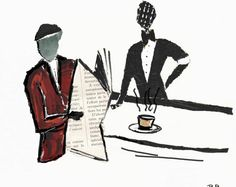 Le Barman, le café parisien, lire son journal au café, la brasserie parisienne, affiche, illustration, décoration salon, décoration pause café, illustration café