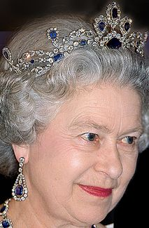 Sapphire Tiara, a part of sapphire parure that were given as wedding gift from her father, King George VI.
