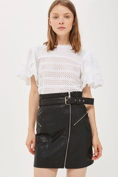 Belted Zip Front Leather Skirt