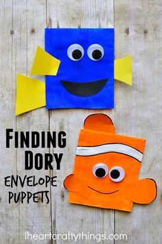 This Finding Dory Craft makes a great family activity after seeing the movie and the Dory and Nemo envelope puppets are so fun for kids for play time.