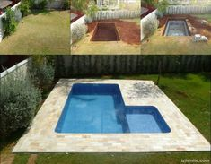 Cinder Block Swimming Pool - Gardening Is Life Diy Pool, Small Backyard Pools, Small Pools, Backyard Landscaping, Pool Decks, Small Patio, Piscina Diy, Small Fire Pit, Plunge Pool