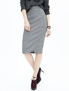 Asymmetrical-Zip Gray Pencil Skirt