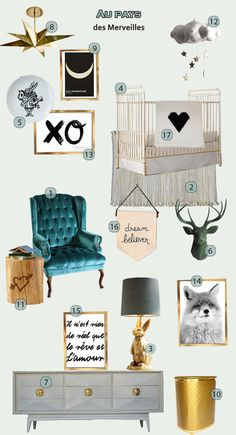 1. Chaise   2. Tapis   3. Lampe   4. Lit   5. Assiette   6. Cerf   7. Commode   8. Lustre 9. Alice in wonderland   10. Panier   11. Table d'...