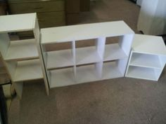 3 White Particle Board Shelves