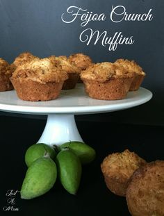 Feijoa Crunch Muffins - Feijoa Crunch Muffins – these are PACKED with flavour and beautiful textures, You will love them! Fejoa Recipes, Guava Recipes, Muffin Recipes, Sweet Recipes, Baking Recipes, Dessert Recipes, Desserts, Fruit Recipes, Food Cakes