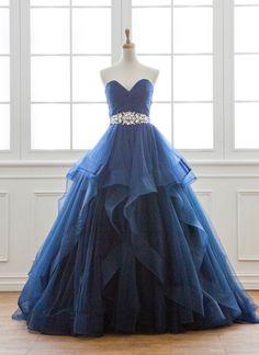 Sweetheart navy blue tulle floor length evening dress, long ruffles prom gown #prom #dress #promdress