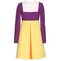Valentino - Colour-block crepe dress - Short and sweet, this charming colour-block dress from Valentino is at the top of our wish list. We love how the yellow looks next to the purple, and that flash of orange beneath the front pleats. Not to mention the flirty, '60s-style silhouette. Opt for a graphic sandal and structured shoulder bag to pull the look together. seen @ www.mytheresa.com