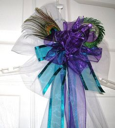 Peacock Wedding Purple and Teal Pew Bow, Reception Decoration