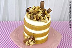 Butterscotch Layer Cake & Caramel Popcorn presented on Fiesta® Dinnerware | The Sugary Shrink