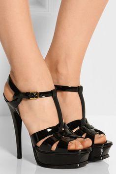 Saint Laurent   Tribute patent-leather sandals   NET-A-PORTER.COM