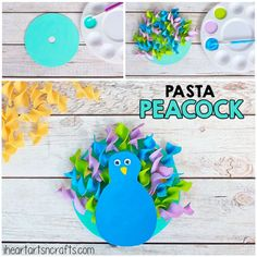Pasta Peacock Craft For Kids