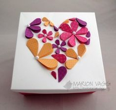 card made from folded hearts of different shapes
