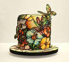 Strained glass cakes o tortas de cristal Gorgeous Cakes, Pretty Cakes, Cute Cakes, Amazing Cakes, Cake Decorating Supplies, Cake Decorating Tutorials, Cake Inspiration, Super Torte, Bolo Floral