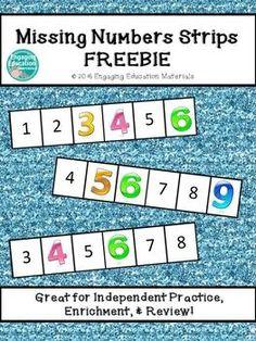 Missing Numbers Strips FREEBIE