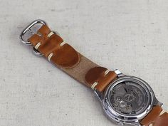 Double Wrap Leather Watch Strap // Horween Leather Band in English Tan Dublin // Polished Loop Hardware Leather Belts, Leather Purses, Leather Wallet, Paracord Watch, Leather Watch Bands, Leather Design, Leather Working, Watch Straps, Leather Projects