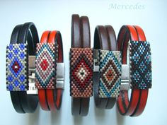Miyuki & leather bracelets Plus Loom Bracelet Patterns, Bead Loom Bracelets, Bead Loom Patterns, Jewelry Patterns, Bracelet Designs, Seed Bead Jewelry, Beaded Jewelry, Seed Bead Tutorials, Leather Bracelets