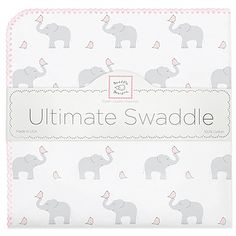 SwaddleDesigns Ultimate Swaddle, X-Large Receiving Blanket, Made in USA, Premium Cotton Flannel, Elephant and Pastel Yellow Chickies (Mom's Choice Award Winner) Flannel Blanket, Swaddle Blanket, Boy Nursery Bedding, Elephant Nursery, Baby Bedding, Baby Elephant, Gifts For New Parents, Pastel Yellow, Tummy Time