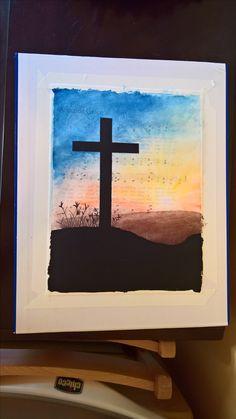Cross silhouette over Amazing Grace hymn transfer Cross Silhouette, Mixed Media Artwork, Amazing Grace, Frame, Crafts, Home Decor, Homemade Home Decor, Manualidades, Interior Design