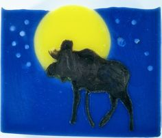 """I have a great love of moose, so I had to include one in this month's challenge. It was tough to get him in there looking very good. I did this one with a fluid pour of the moose. And did white soap dough for the """"stars"""" Great Love, Got Him, Soaps, Moose Art, Challenge, Animals, Design, Hand Soaps, Animales"""