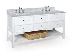 $1299.99 New Yorker 60-inch Bathroom Vanity (Carrera/White): Includes a White Solid Wood Cabinet, Soft Close Drawers, a Carrera Marble Countertop, and Two Ceramic Sinks by Kitchen Bath Collection, http://www.amazon.com/dp/B00B60HNCQ/ref=cm_sw_r_pi_dp_CQfDrb0VJEN36