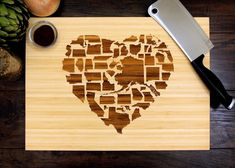 Personalized Cutting Board 12 x 16 inches Wedding Gift Custom American States Heart Anniversary Gift Engagement Gift Christmas Gift Engraved Cutting Board, Diy Cutting Board, Personalized Cutting Board, Engagement Gifts For Couples, Engagement Party Gifts, Personalized Christmas Gifts, Holiday Gifts, Traditional Engagement Gifts, Custom Wedding Gifts