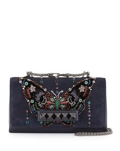 Valentino Va-Va-Voom Butterfly Beaded Shoulder Bag Fall 2015