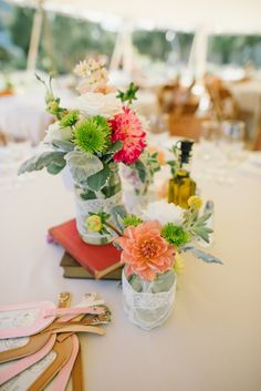shabby chic table decor. Love it  See more! http://www.weddingchicks.com/2013/08/20/charming-chic-cornerstone-celebration/