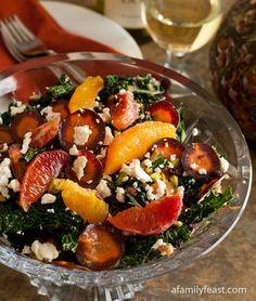 Tuscan Kale Salad with Oranges, Currants and Feta Recipe - RecipeChart.com