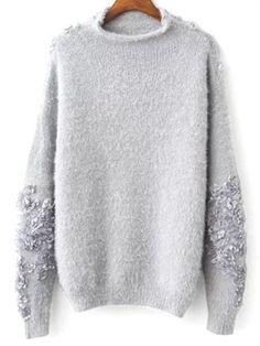 Floral apliques sudadera suéter - Gris Única Talla