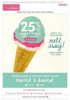 Joules, melting offers #design #email