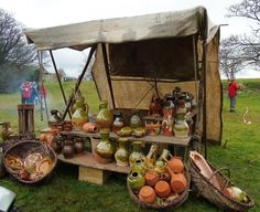 Jim the Pot's stall at Towton 2015. Trinity Court Pottery http://www.trinitycourtpotteries.co.uk/ Photo from The Red Wyvern