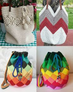 Carmen De Gorostidi Colás's media content and analytics Free Crochet Bag, Crochet Motif, Crochet Yarn, Crochet Stitches, Crochet Patterns, Crochet Handbags, Crochet Purses, Drawstring Bag Diy, Crochet Shoulder Bags