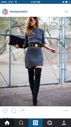Dark gray knit sweat dress, black suede over the knee boots, black . - Nail ideas Charcoal Knit Sweat Dress, Black Suede Over The Knee Boots, Black . Fall Winter Outfits, Autumn Winter Fashion, Preppy Winter, Dresses In Winter, Winter Shoes, Winter Wear, Summer Outfits, Look Fashion, Womens Fashion
