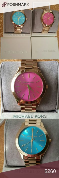 2 x NEW Michael Kors Slim Gold Tone Watch **Authentic & Original**  *Price is Firm**:)  Two MK Gold tone slim runway watches (Pink &Blue)  Brand NEW with Tag! Come with box and a manual booklet! Never resized/used.  MK 3264 & MK3492 Org. price was $195 Each**   Authentic**  Price is firm** No Hold*  Case Size 42 mm Case Thickness 8.5 mm Band Width 20 mm Water Resistant 5 ATM      #Michael Kors, Women?s watch, Fasion, NewYork, Runway, Slim, Handbag, gift, Coach, Kate spade, Calvin Klein…